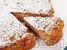 Рецепта Пухкав сладък кекс с орехи и ябълки без захар (с подсладител)